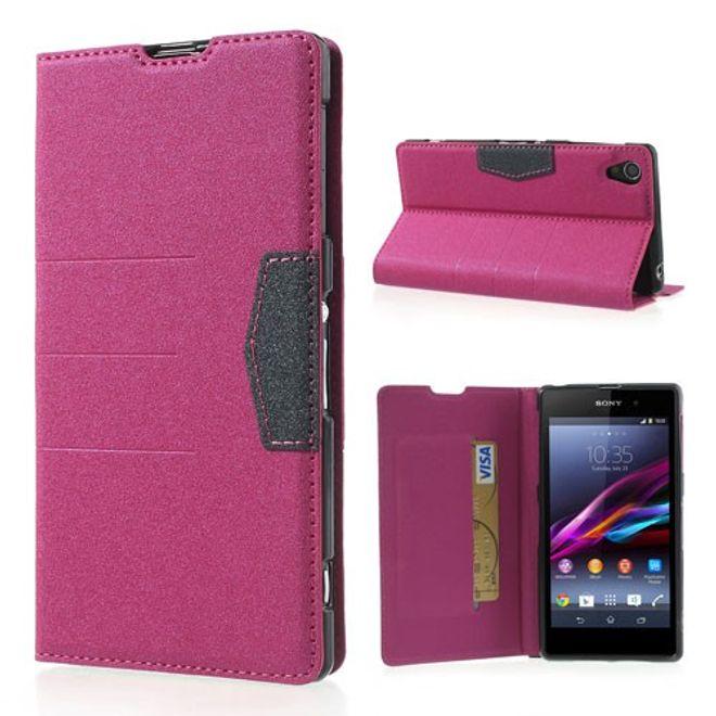 Sony Xperia Z1 Magnetisches Leder Case - rosa