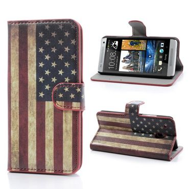 HTC One Mini Leder Case mit USA Nationalflagge retro-style