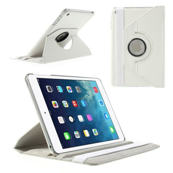 MU Style iPad Mini 1/2/3 Smart Leder Case 360° rotierbar mit Standfunktion - weiss
