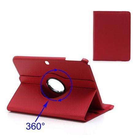 Samsung Galaxy Tab 3 10.1 Leder Cover 360° rotierbar mit Litchimusterung - rot