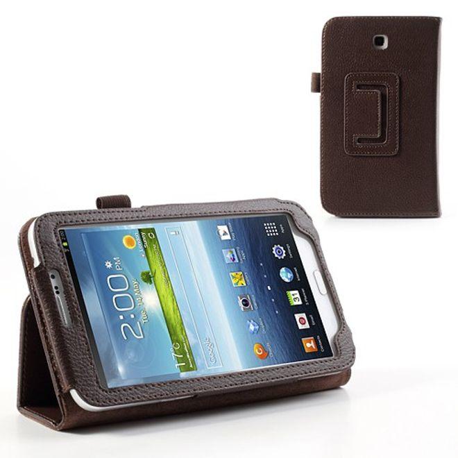 MU Classic Samsung Galaxy Tab 3 7.0 Litchi-style Leder Case mit Standfunktion - braun