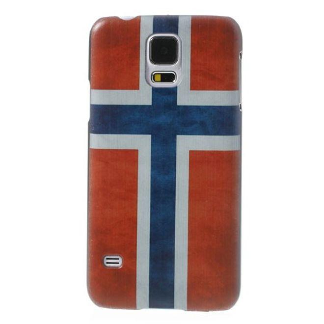 Samsung Galaxy S5 Hart Plastik Case mit Norwegen Nationalflagge