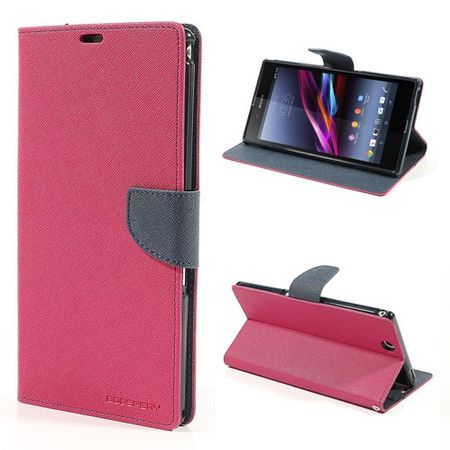 Goospery - Sony Xperia Z Ultra Hülle - Handy Bookcover - Fancy Diary Series - pink/navy
