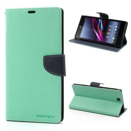 Sony Xperia Z Ultra Modisches, magnetisches Leder Case - dunkelblau/cyan