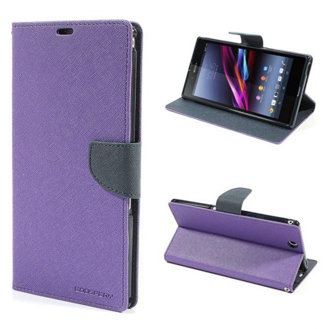 Goospery Sony Xperia Z Ultra Modisches, magnetisches Leder Case - dunkelblau/purpur