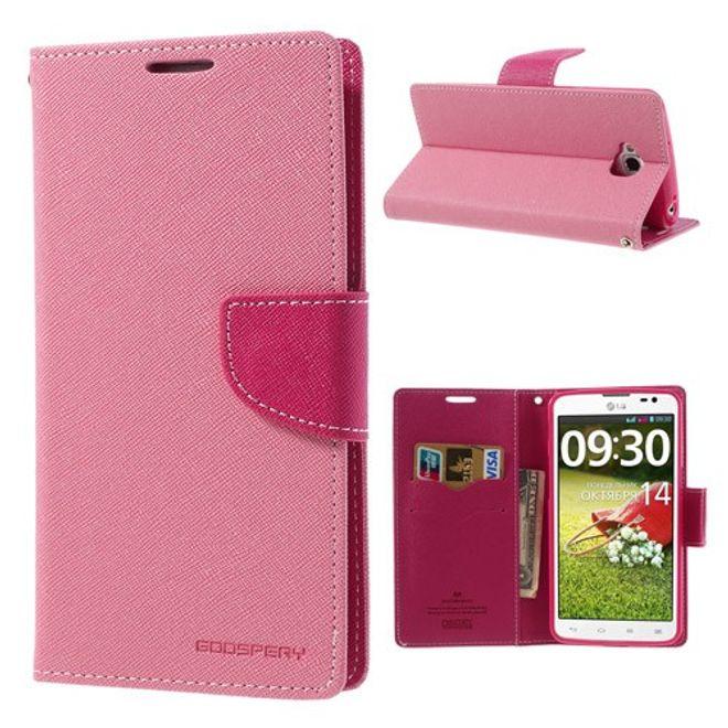 LG G Pro Lite Magnetisches Leder Case mit Standfunktion - rosa/pink