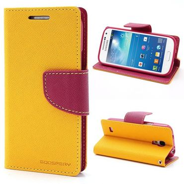 Samsung Galaxy S4 Mini Modisches Leder Case mit Standfunktion - rosa/gelb