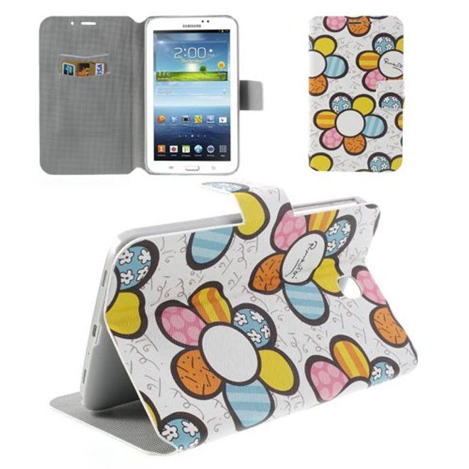 MU Style Samsung Galaxy Tab 3 7.0 Leder Case mit farbigen Blumen - weiss