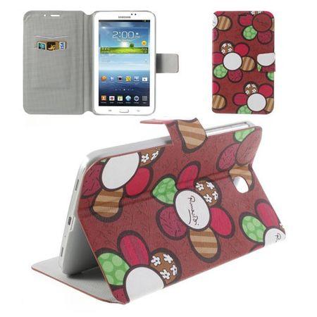 Samsung Galaxy Tab 3 7.0 Leder Case mit farbigen Blumen - rot