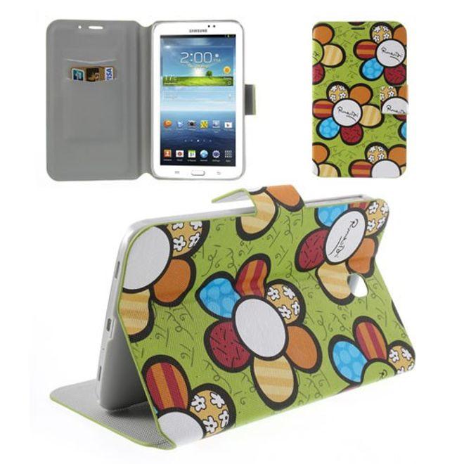 Samsung Galaxy Tab 3 7.0 Leder Case mit farbigen Blumen - grün