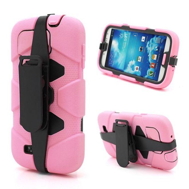 MU Classic Samsung Galaxy S4 Robustes Silikon- und Plastik Case mit Gurthalterung - schwarz/pink