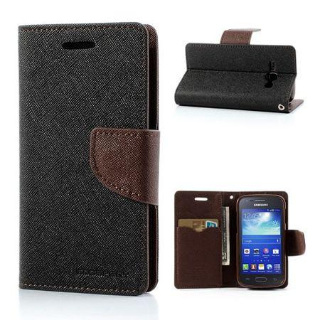 Samsung Galaxy Ace 3 Leder und elastisches Plastik Combo Case - braun/schwarz