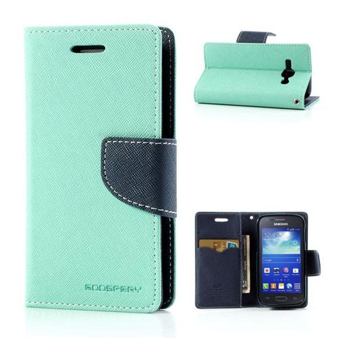 Samsung Galaxy Ace 3 Leder und elastisches Plastik Combo Case - dunkelblau/cyan