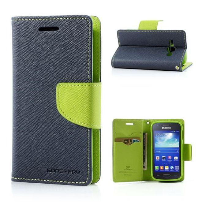 Samsung Galaxy Ace 3 Leder und elastisches Plastik Combo Case - grün/dunkelblau
