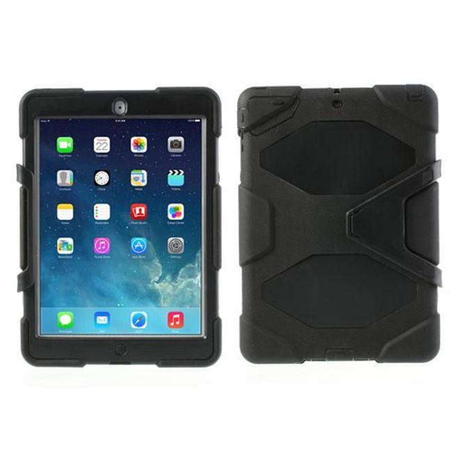 MU Classic iPad Air Robustes Plastik- und Silikon Case mit Standfunktion - schwarz