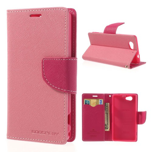 Goospery Sony Xperia Z1 Compact Modisches Leder Case mit Standfunktion - rosa/pink