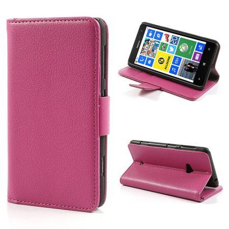 Nokia Lumia 625 Leder Flip Case mit Kreditkartenschlitz - rosa