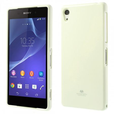 Goospery - Sony Xperia Z2 Handy Hülle - TPU Soft Case - Pearl Jelly Series - weiss