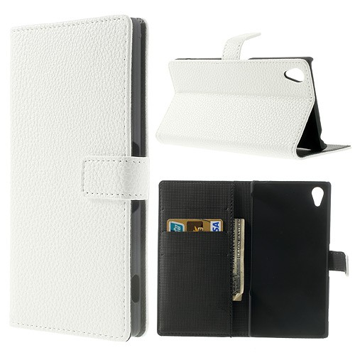Sony Xperia Z2 Magnetisches Leder Case mit Litchimuster - weiss