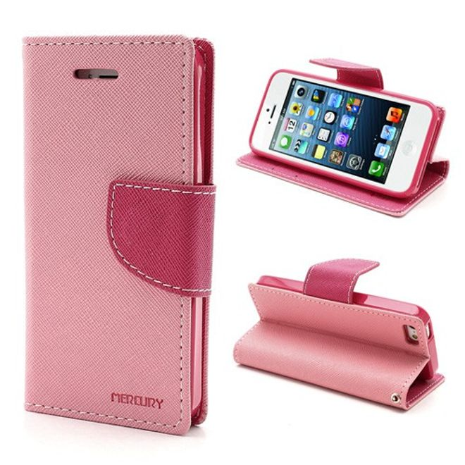 Goospery Goospery - iPhone SE/5S/5 Hülle - Handy Bookcover - Fancy Diary Series - rosa/pink
