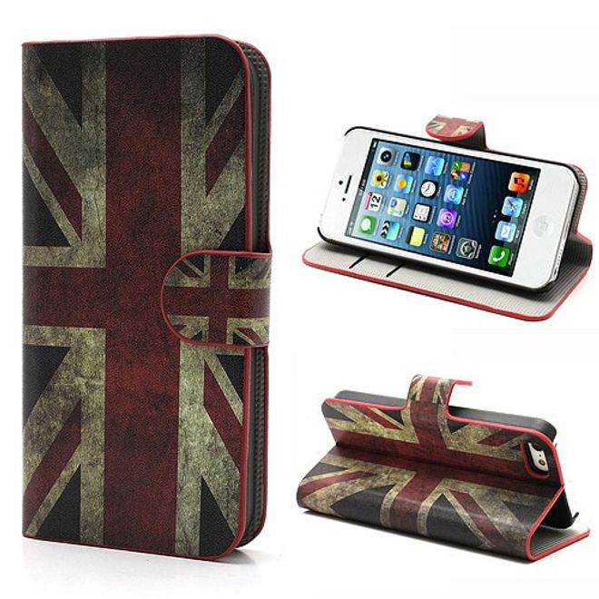 iPhone SE/5S/5 Magnetisches Leder Case mit Union Jack Flagge retro-style