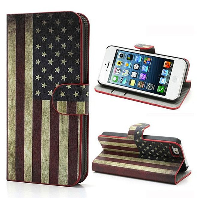 iPhone SE/5S/5 Magnetisches Leder Case mit USA Nationalflagge retro-style