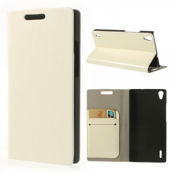 Huawei Ascend P7 Crazy Horse Leder Case mit Standfunktion - weiss