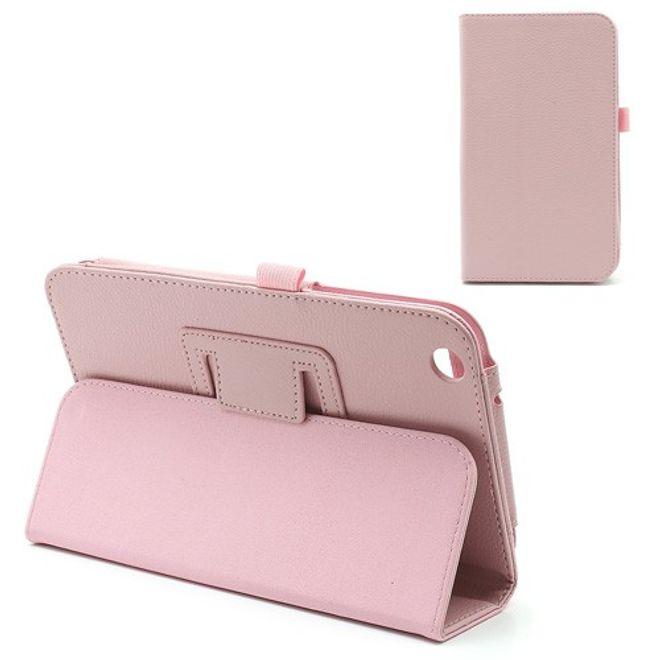 Samsung Galaxy Tab 3 8.0 Stylisches Leder Case mit Litchimuster - pink