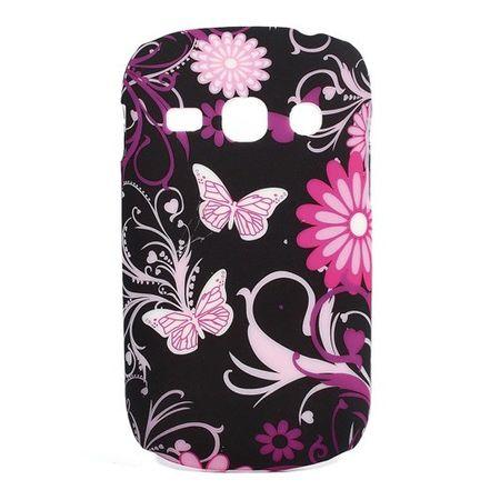 Samsung Galaxy Frame Hart Plastik Case mit Schmetterlingen - schwarz