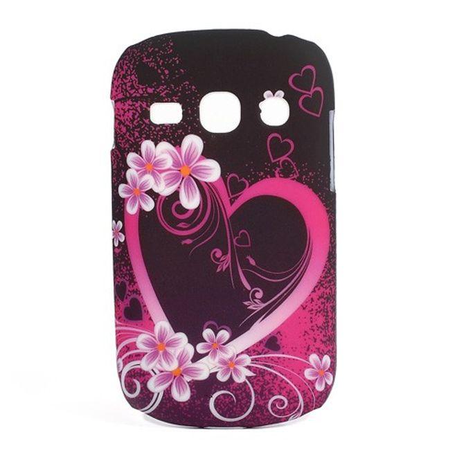 MU Style Samsung Galaxy Frame Hart Plastik Case mit Herz und Blumen