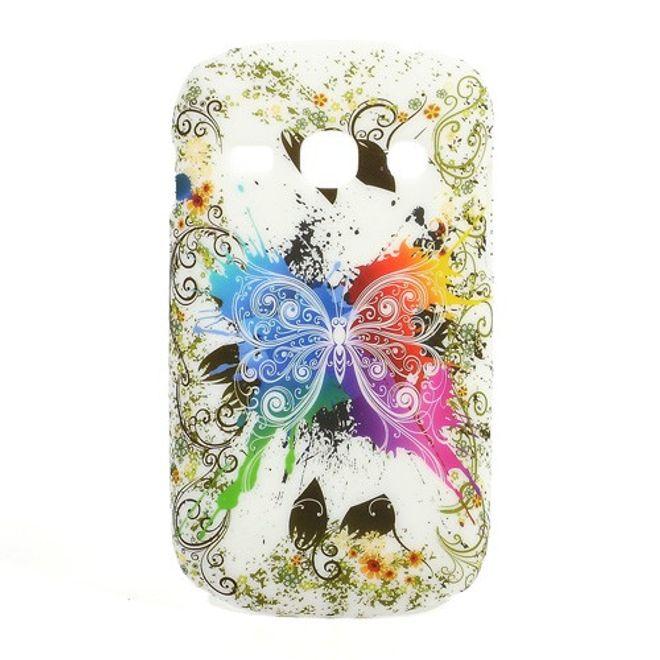 MU Style Samsung Galaxy Frame Hart Plastik Case mit farbenfrohem Schmetterling