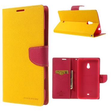 Nokia Lumia 1320 Modisches Leder Cover - rosa/gelb