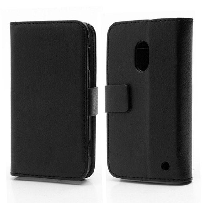 MU Classic Nokia Lumia 620 Schickes Leder Case mit Standfunktion - schwarz