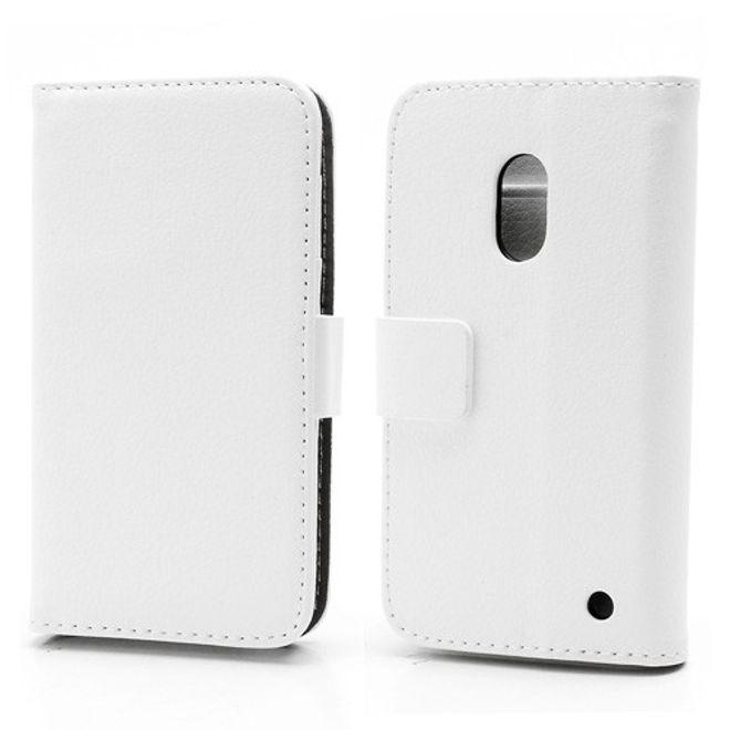 MU Classic Nokia Lumia 620 Schickes Leder Case mit Standfunktion - weiss