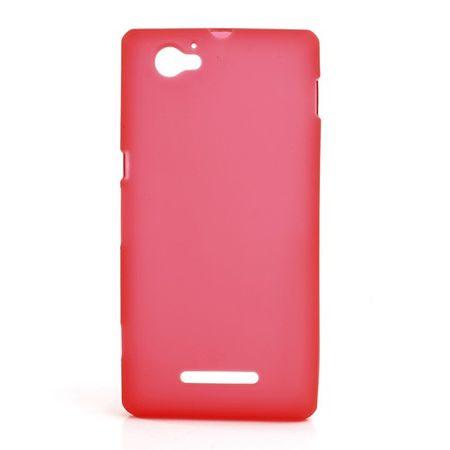 Sony Xperia M Elastisches, mattes Plastik Case - rot