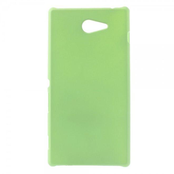 Sony Xperia M2 Gummiertes Hart Plastik Case - grün