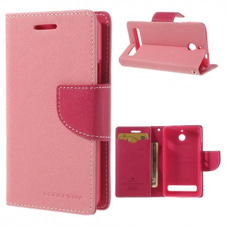 Sony Xperia E1/E1 Dual Modisches Leder Case - rosa/pink