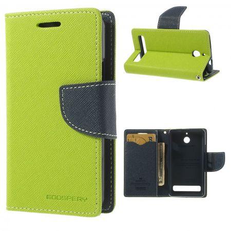 Sony Xperia E1/E1 Dual Modisches Leder Case - dunkelblau/grün