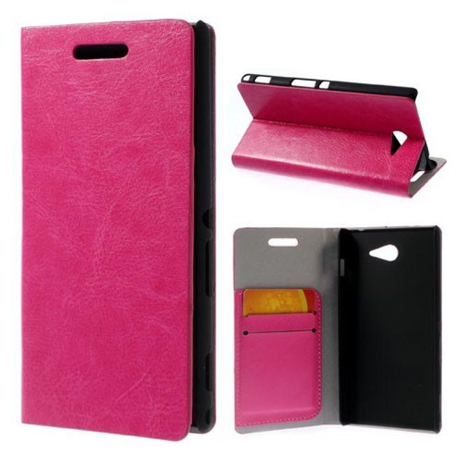 MU Classic Sony Xperia M2/M2 Dual Crazy Horse Leder Case - rosa
