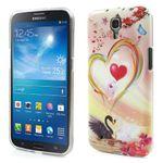 Samsung Galaxy Mega 6.3 Elastisches Plastik Case mit liebenden Schwänen