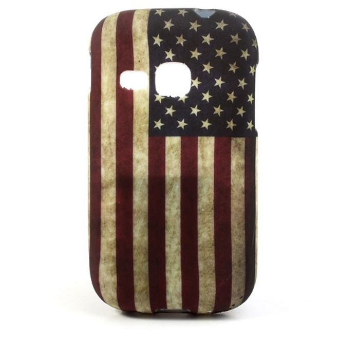 Samsung Galaxy Young Elastisches Plastik Case mit USA Nationalflagge retro-style
