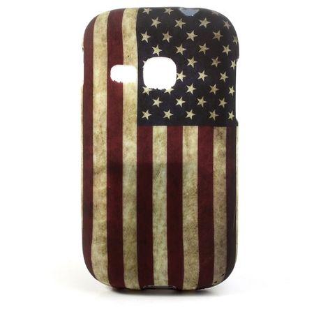 Samsung Galaxy Young Elastisches Plastik Case mit USA Nationalflagge retro-style