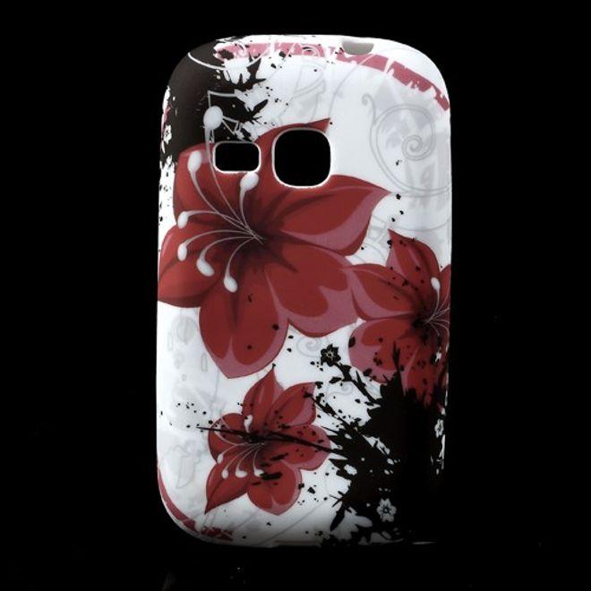 MU Style Samsung Galaxy Young Elastisches Plastik Case mit roten Lilien