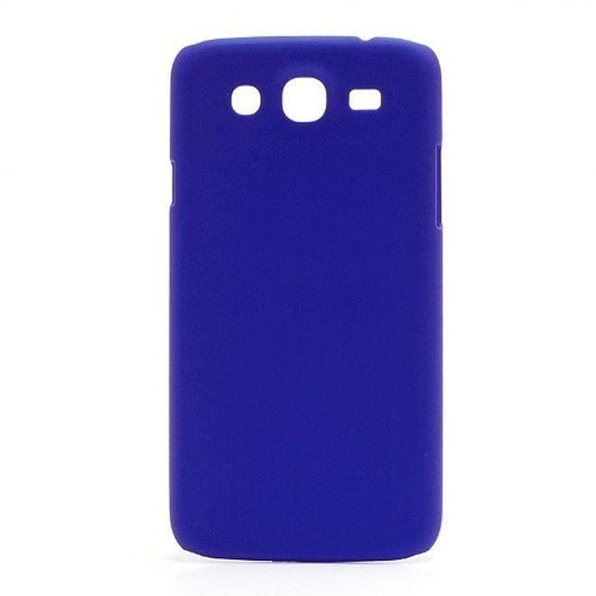 MU Classic Samsung Galaxy Mega 5.8 Gummiertes Hart Plastik Case - dunkelblau