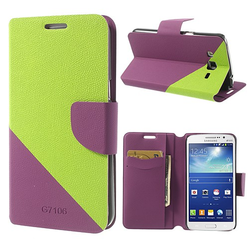 Samsung Galaxy Grand 2 Duos Modisches Leder Case - grün/purpur