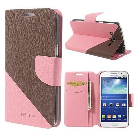 Samsung Galaxy Grand 2 Duos Modisches Leder Case - braun/pink