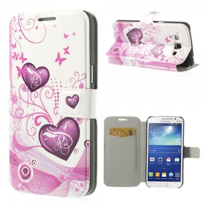 MU Style Samsung Galaxy Grand 2 Duos Leder Case mit Schmetterlingen und Herzen