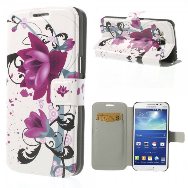 Samsung Galaxy Grand 2 Duos Leder Case mit Lotus Blumen
