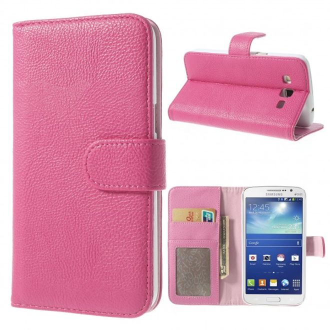 Samsung Galaxy Grand 2 Duos Leder Case mit Litchimuster - rosa