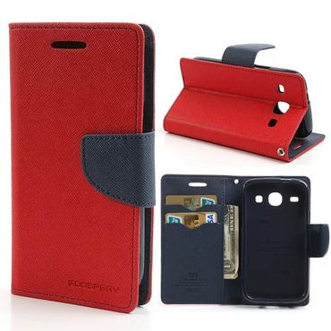 Samsung Galaxy Core Modisches Leder Case - dunkelblau/rot